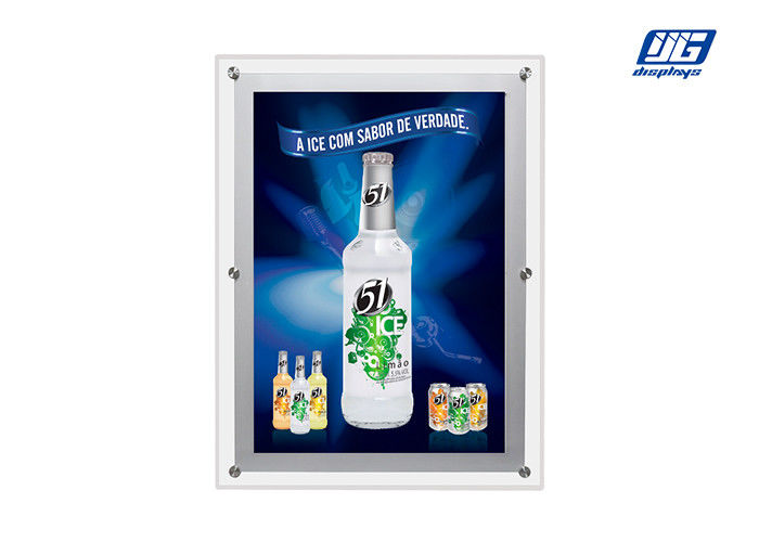 A0 Size Crystal LED Light Box , Clear Acrylic Magic Edge Lit Poster Frames Indoor