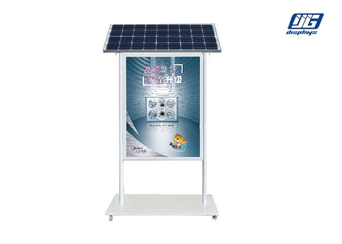 Double Sided Solar Powered Light Box Poster Display Shelf With Adjustable Wheel