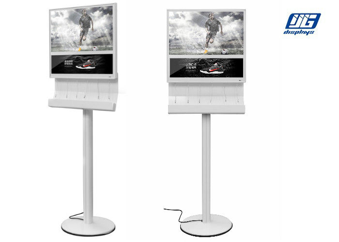 "Floor Standing Mobile Phone Charging Station With 27"" LCD digital signage"